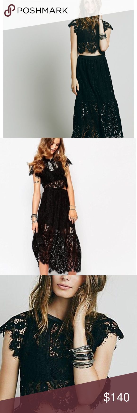 Free People Pocket Full of Posies Set Free people lace top and skirt set. Size 4. Delicate sheer lace crop top set with rounded neck and scalloped trim. Drop waist maxi skirt. Lined with half slip. Sold out style online. Last photo taken from free people gallery. Free People Dresses Maxi