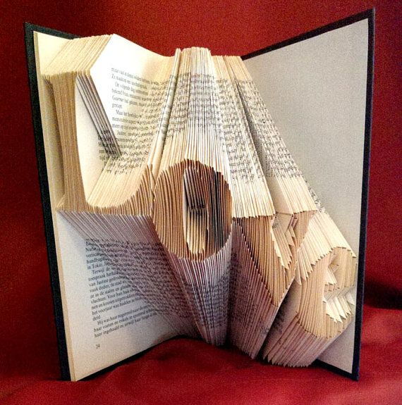 Folded Book Art   LOVE Diagonal  Hand Crafted   Home Decoration   Mother  Gift   Old Book   4 Letters   Word   Original Gift   House Ornament.