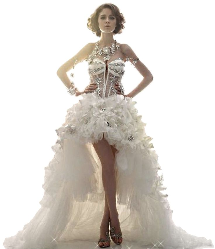 Gorgeous High Low Swarovski Crystals Beads Feathers Vestido de Noiva Weddin Dresses with the Train