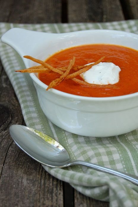 ... roasted red pepper soup with chipotle crisps and cilantro lime cream