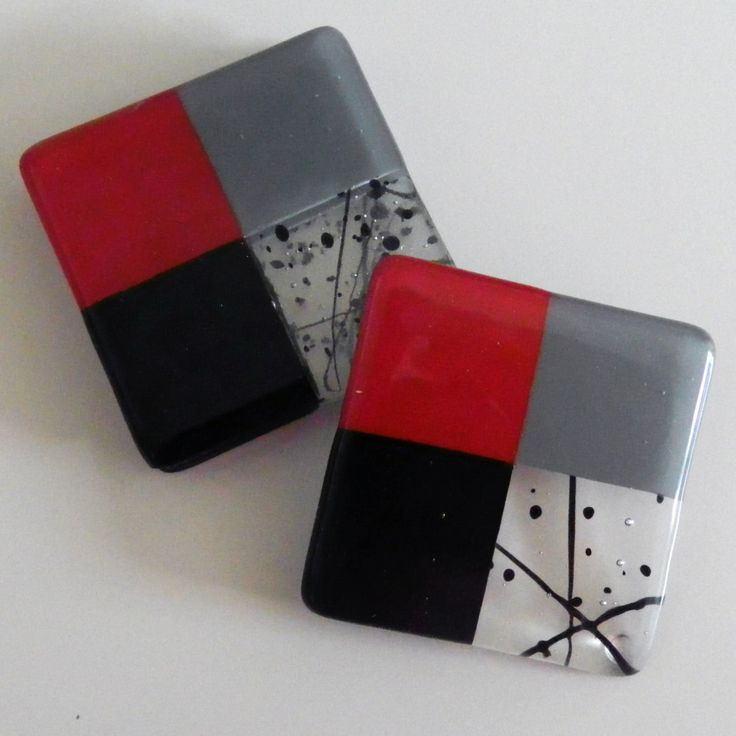 FUSED GLASS COASTERS - Handmade, Contemporary Set of 4 by AjMcKeeFusedGlass on Etsy