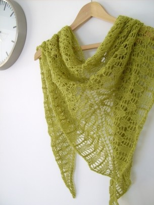 Lime Green Hand knit Lace