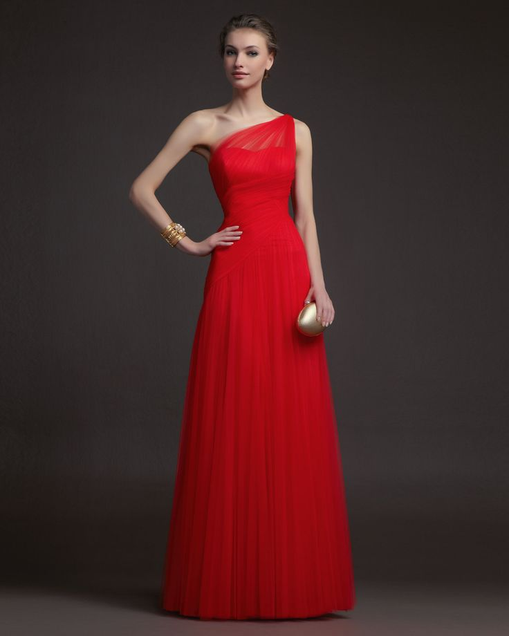 Cheap Simple A-line One Shoulder Ruching Floor-length Tulle Prom Dresses From Highly Praised Online Shop