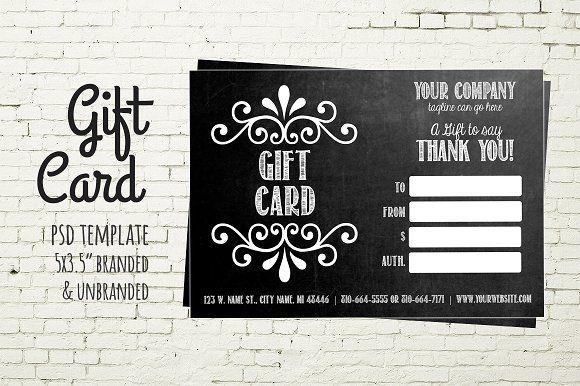 Gift Card Template Chalkboard Card Gift Card Template Chalkboard Cards Business Cards Creative Templates