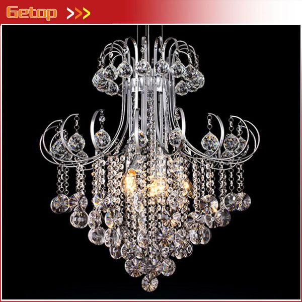 Лучшая цена современная роскошь хрустальная люстра K9 для столовой дома светильники из светодиодов E14 * 6 шт. D60 * H70cm кристалл лампы