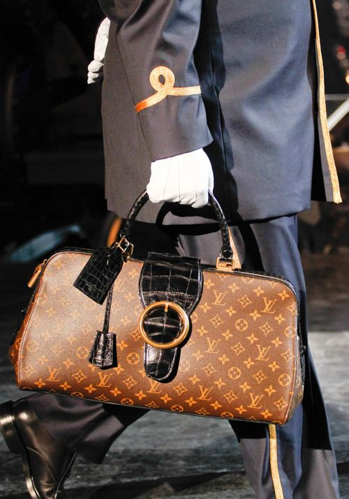 Louis Vuitton Fall 2012 canvas LV handbag with black croc belted buckle