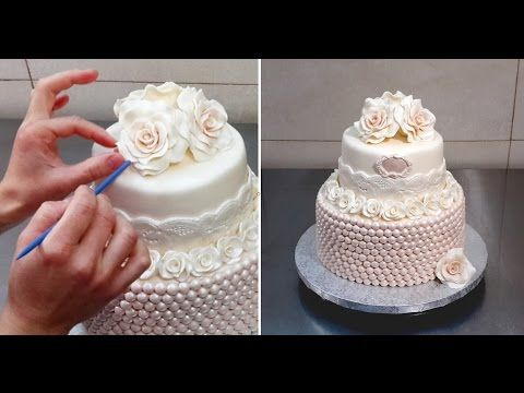 Cake Decor Pearls : Rose & Pearls Cake by CakesStepbyStep Cake Decorating Tutorial 2 Pinterest Wedding, Cakes ...