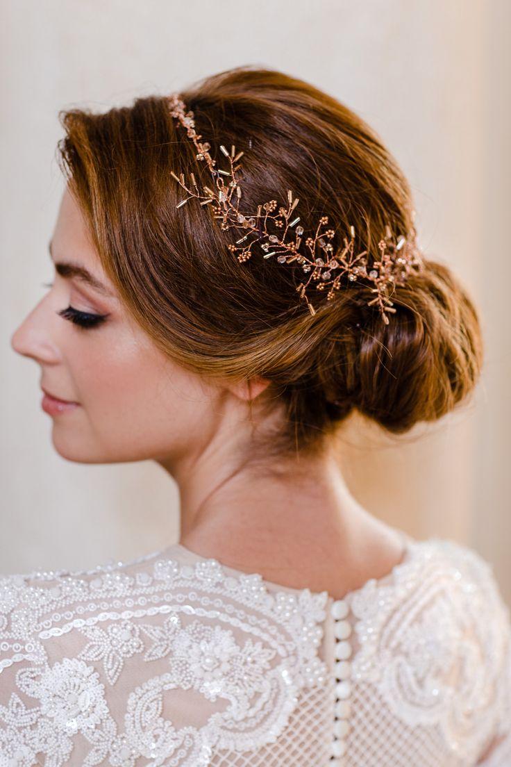 Headpiece: www.editarosenrot.com Photography: http://daniela-porwol.de/   Wedding dress: http://oksana-mukha.com/   Hair + makeup: http://adrianah.com/   Read More: https://www.stylemepretty.com/2017/12/16/austria-elegant-wedding-inspiration/