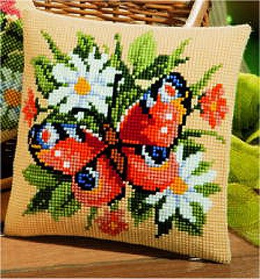 Butterfly Cross Stitch Cushion Kit By Vervaco
