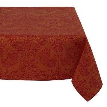 Mahogany Peacock 60-Inch by 120-Inch Tablecloth, Cotton Jacquard #affiliate