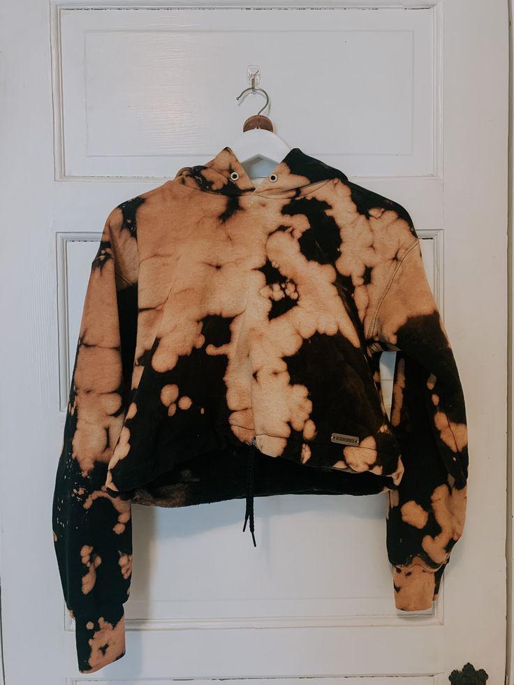 Bleached black crop top hoodie sweatshirt etsy in 2020