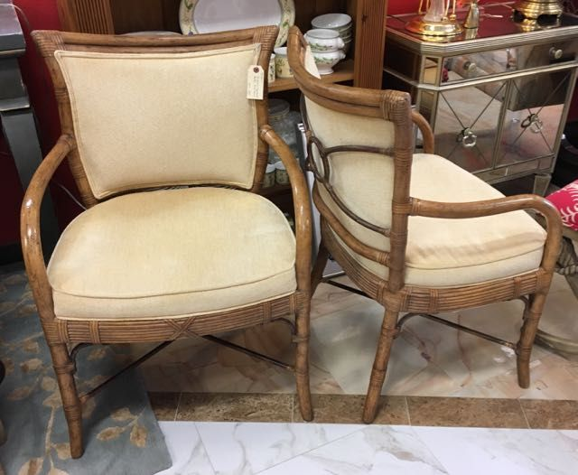 Pair Of Ferguson Copeland Rattan Arm Chairs Have Lovely Curves And