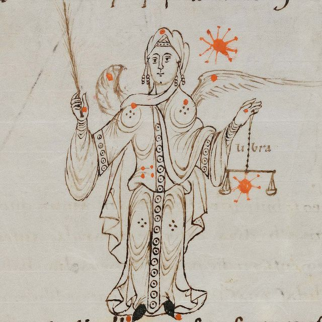 Zodiac sign of Virgo in a 9th century manuscript