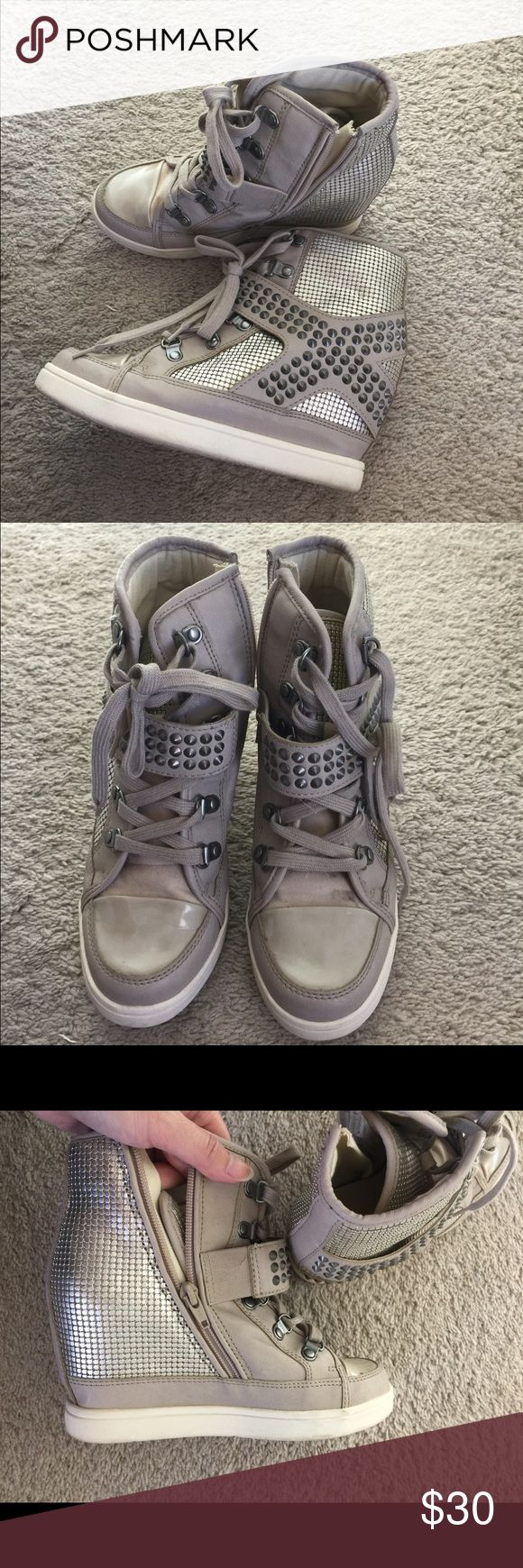 ALDO Wedge Sneaker Metallic and cream wedge sneaker from Aldo. Worn only a few times! Aldo Shoes Wedges