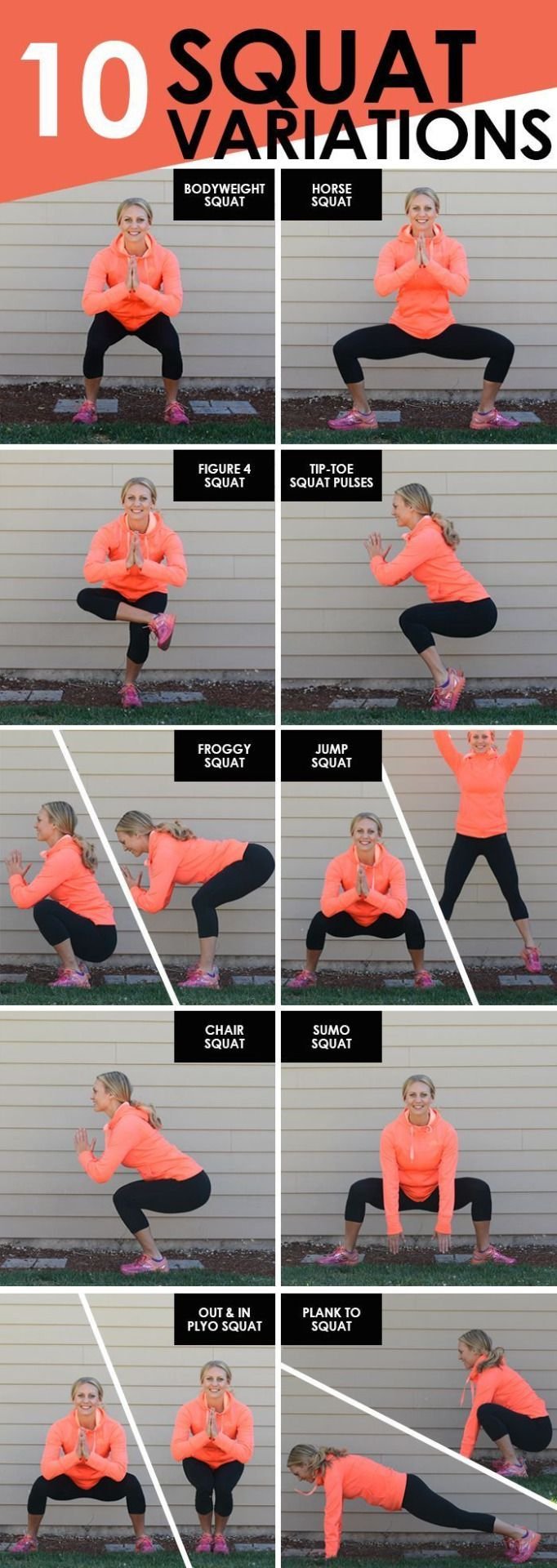 10 Squat Variations     10 Squat Variations  https://www.pinterest.com/pin/133489576432686306/