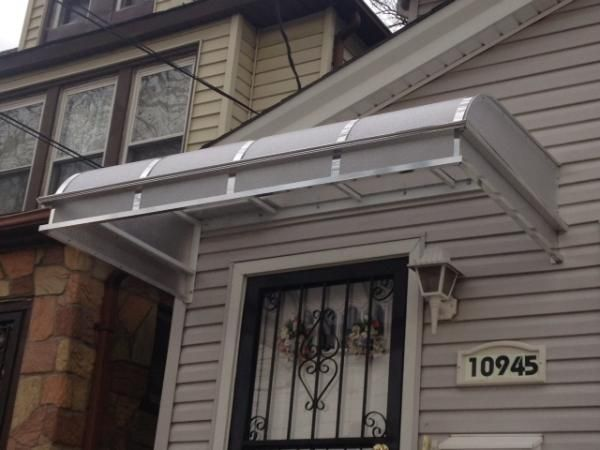 Plexiglass Door Canopy Hood In Brooklyn New York For Patios Or Porches By Elite Awning 718 916 1265 Porch Awning Awning Door Canopy