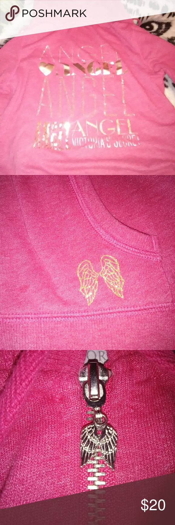 """PINK Zip Up Pink brand zip up. """"Angel"""" all the way down the back in gold writing. Perfect condition besides the minor spots on the left sleeve. Not very noticeable. Could possibly come out? Size small. PINK Jackets & Coats"""