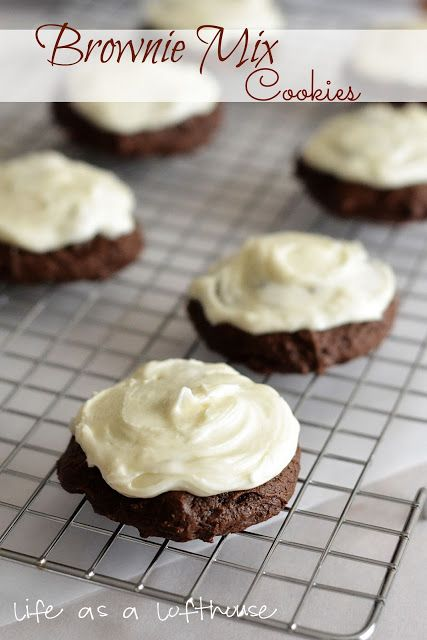 Brownie mix cookies with cream cheese frosting. Delicious and hard to stop eating! (Life as a Lofthouse Blog)