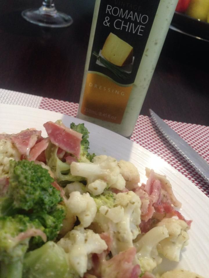 Leo's dinner! His wife made this awesome, delicious, simple salad that just had to be shared! Slightly softened broccoli and cauliflower, crispy pancetta and plenty of Red Kelly's Tas Romano Chive dressing! MAGIC!