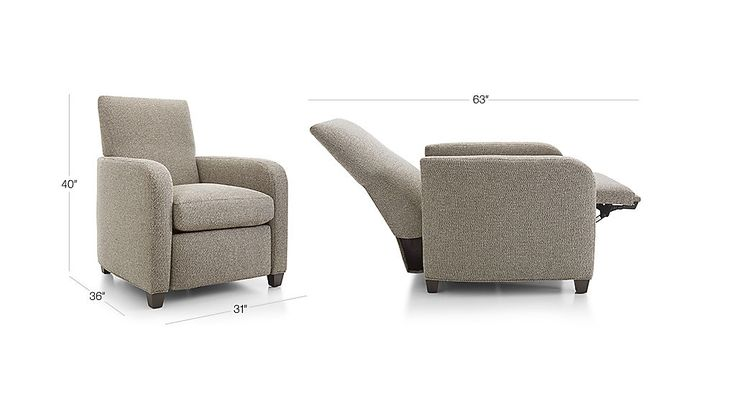 Shop Royce Recliner.   Royce effortlessly reclines back to three positions with a hidden push-back mechanism—from a slight angle to full, stretch-out relaxation mode with elevated footrest.
