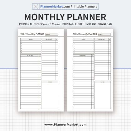 Monthly Planner, 2018 Monthly Planner Inserts, Personal Size