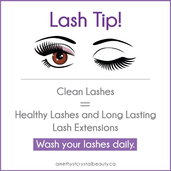 Lash Tip! Washing them daily with a gentle, oil free cleanser will keep makeup and gunk off of them, prevent infections, keep them healthy and strong and make your extensions last longer.   Check out our online shop for our favourite lash cleanser from Sweet Leilani - her foamy cleanser is perfect and contains nourishing ingredients that are so beneficial for your skin.   Click the image for our Lash FAQ page to learn more about lash services.
