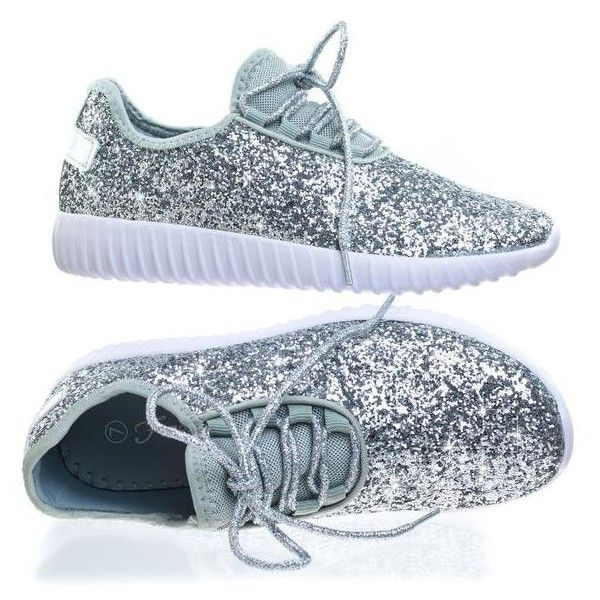 Remy18 Silver by Forever Link, Lace up Rock Glitter Fashion Sneaker w... ($29) ❤ liked on Polyvore featuring shoes and sneakers
