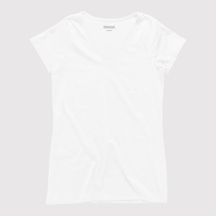 This perfect 100% cotton basic v-neck tee can be worn all year round with jeans, shorts or that cute denim skirt. Available in white, black and grey marle. Shop the #littlebit range of #womensclothing #womenstees #vneck #tees at littlebit.com/women.html.