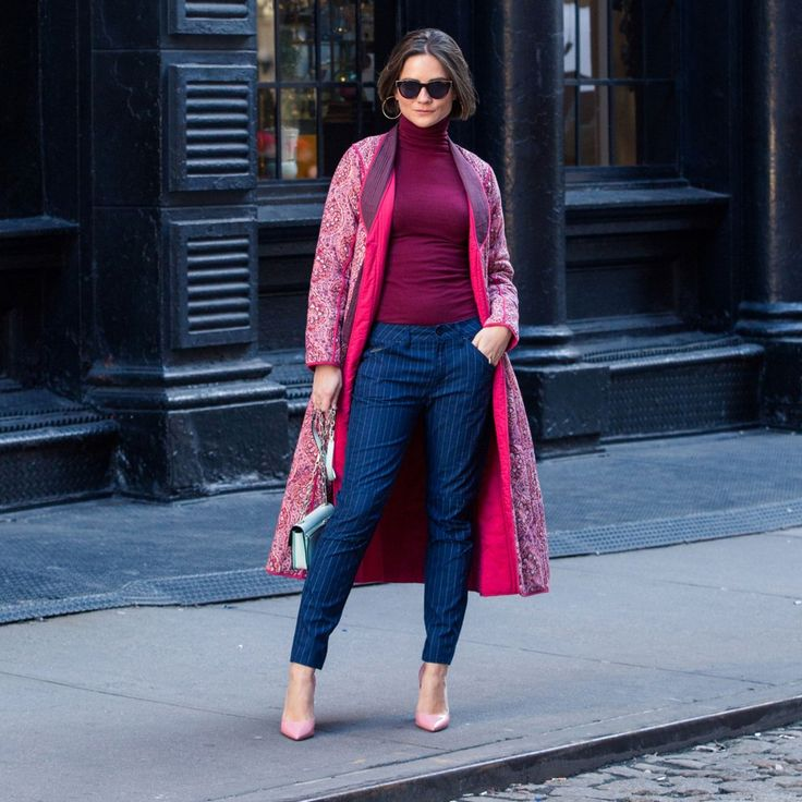Our Guide to Styling G-Star RAW Elwood X25 Collection:How I finally got out of my blue denim comfort zone (& what Pharrell has to do with it). In collaboration with G-Star Raw. ---- Navy Pinstripe printed denim, burgundy knit fitted turtleneck, red printed statement coat, and pink heels. | Coveteur.com
