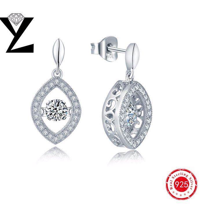 Fashion Drop Earring Sterling Silver CZ Dangling Earrings for Women Statement Wedding Engagement Long Earrings Dancing Jewelry