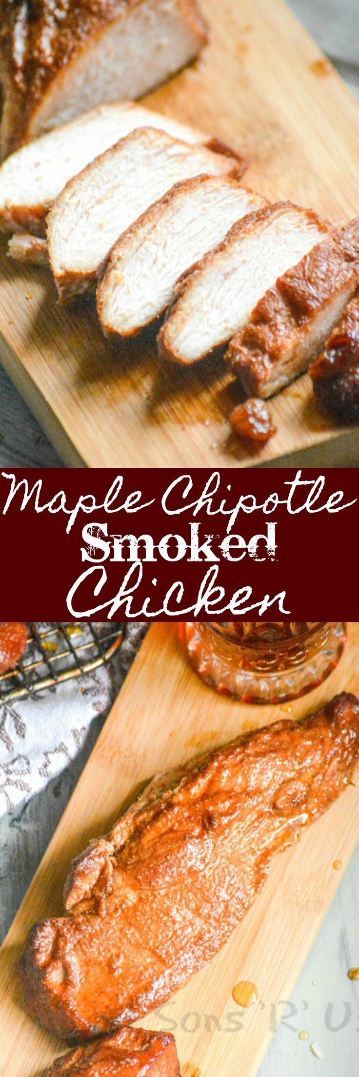 A sweet and slightly spicy maple chipotle glazed chicken breast is infused with wood smoke in every bite. This Maple Chipotle Smoked Chicken makes a tasty entree for any meal, and it even makes a mean Southwestern salad. Smoke up a batch for Dad for a special Father's Day treat.