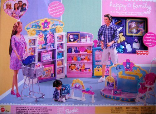 "Barbie Happy Family Baby Store Playset (2002) by Mattel. $99.00. There's cute stuff for the baby, including a Baby Outfit, a Fisher Price Kick & Play Bouncer, a Baby Entertainment Center. There's also a Cash Register & Shopping Bags & a Baby Seat! Midge & Alan love their Happy Family.. For Ages 3+ Years. For Box Condition see CONDITION NOTE or Email Seller for Details.. Set UNASSEMBLED. Playset intended for Barbie & 11.5"" fashion size dolls; NO DOLLS included.. Contents: Display..."