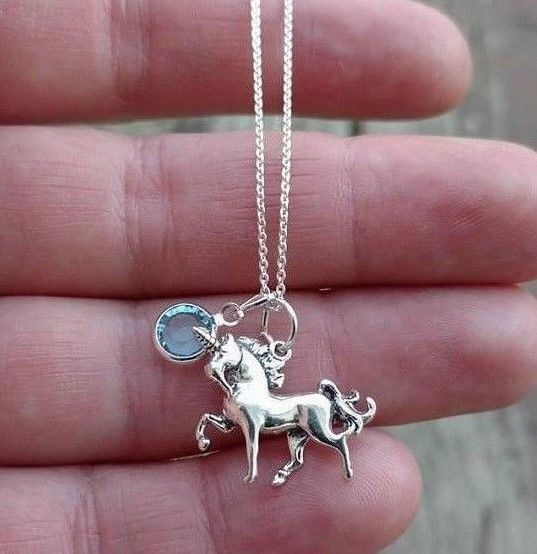 Solid .925 Sterling Silver UNICORN & Birthstone Charm Necklace Gift for Girl's #Handmade #Pendant #Charms #shopping #ebay #sale #Unicorns #Unicorn #necklace #necklaces #jewelry #jewellery #Christmas #Birthday #Birthstone #Personalized #Gifts #Gift