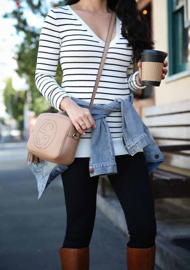 How to look chic and effortless with simple, classic pieces: striped sweater, denim jacket, black pants, cognac boots, casual weekend outfit
