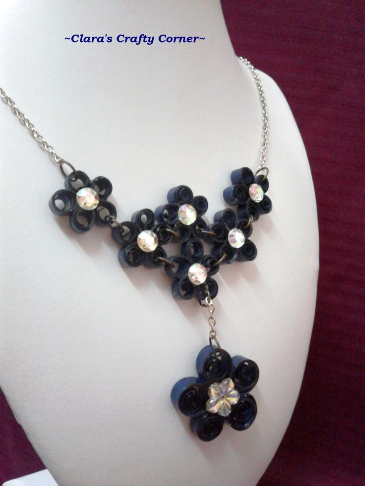 Quilling of dark blue necklace - a perfect jewelry to match you.