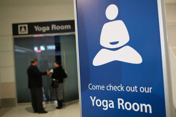 Yoga Room in Terminal 2, SFO: Open to all passengers, the 150 sq ft room has a few chairs, yoga mats and mirrored walls,  but no instructors. No shoes, food, drinks or cell phones are allowed. via healthland.time.com  #Yoga #SFO