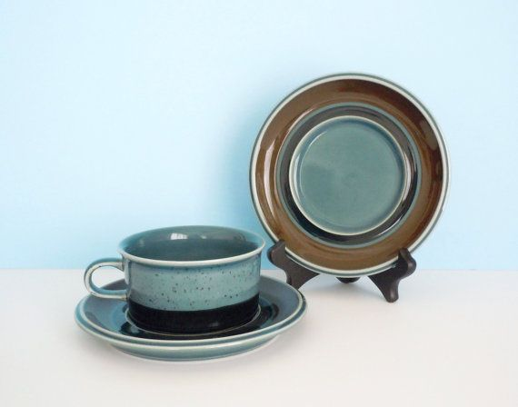 Arabia Finland Meri Blue Teacup and Two Saucers by AtomicAlley