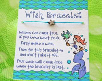 Wish Bracelet, Lot of 5, Mermaid Birthday, Party Favor, Girls Birthday, Kids Jewelry, Under the Sea, Mermaid Party, Party Supplies