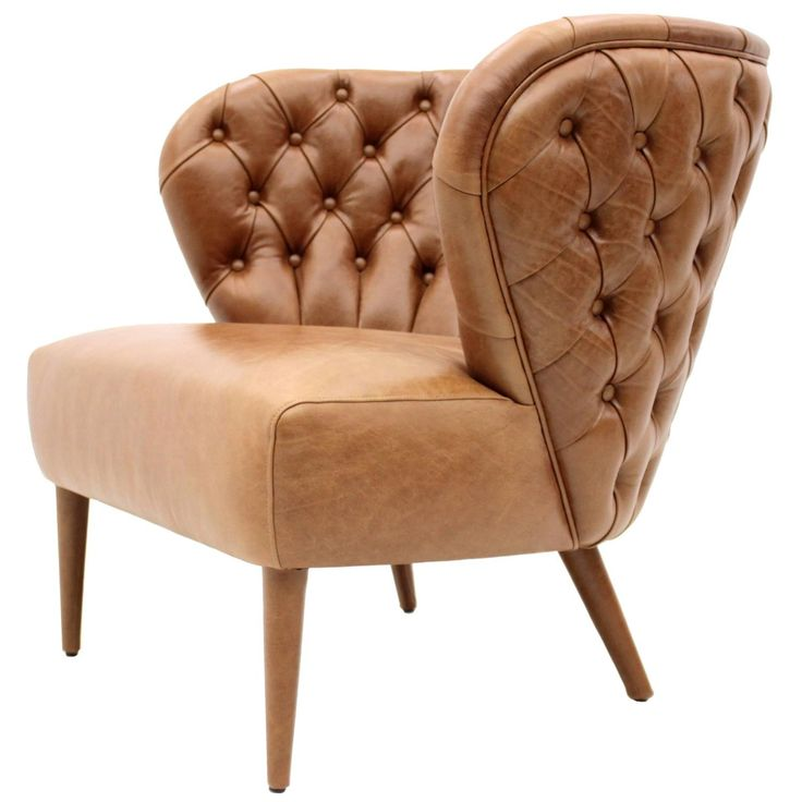 Italian Modern Chesterfield Style Tan Button Backed Leather Armchair