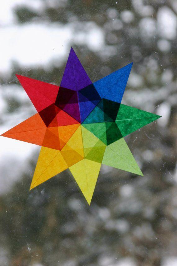 Waldorf rainbow window star from harvestmoonbyhand on etsy $7