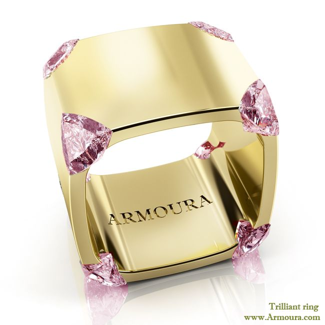 Trilliants ring in 18ct yellow gold with pink diamonds from www.Armoua.com