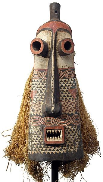 Pende Pumbu Mask (Pumbu is deemed the most dangerous and is reserved for only the most powerful chiefs. The Pumbu, unlike the majority of other masks, is only danced on special occasions such as when the chief is seriously ill, in times of illness or famine, when other issues are causing disruption in the community or when the chief feels threatened. Through the dancing of the Pumbu the chief asserts his authority). #FredericClad