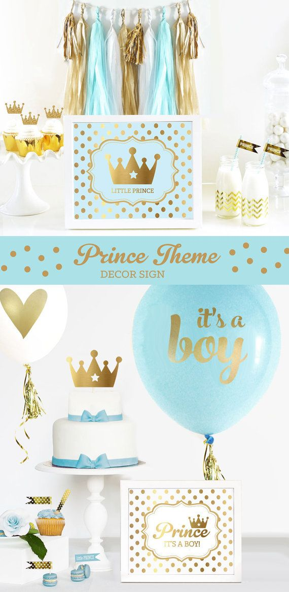 Prince theme baby shower or birthday party calls for a royal celebration! These little prince SIGN decorations in blue and gold will bring some sparkle to your celebration! Our Personalized Metallic Foil Art Prints are perfect for a dessert table or candy buffet at a birthday party.  SIGN EXAMPLE TOP SHOWS Blue & Gold Dots Star Crown Icon Text: LITTLE PRINCE  SIGN EXAMPLE BOTTOM SHOWS White & Gold Dots Prince Script Icon Text: ITS A BOY!  ***DETAILS***  *This listing is for 1 PRINTED…
