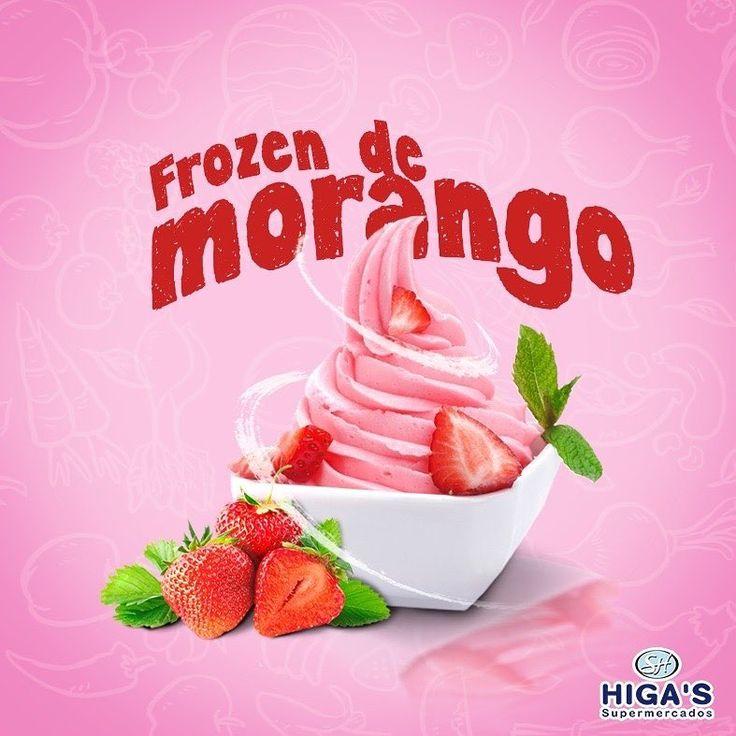 Frozen de morango  Você só precisa de dois ingredientes:  1) 300 gramas de morango congelado;  2) 200ml de iogurte de baixa caloria (pode ser iogurte natural, ou iogurte de morango, mas dê preferência aos iogurtes que já vem adoçado). Coloque o morango congelado num processador de alimentos (ou liquidificador) e adicione o iogurte.  Bata os dois ingredientes até que a mistura fique homogênea, o que leva de 1 a 2 minutos. Se sentir necessidade adoce um pouco a mistura com adoçante (ou…