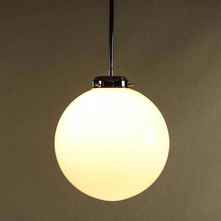 Stab Pendel Leuchte Glas Kugel Schirm Art Deco Lampe Bauhaus Vintage
