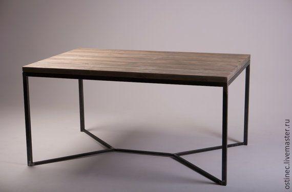 Купить Обеденный стол в стиле лофт из массива и металла Ольга в интернет магазине на Ярмарке Мастеров