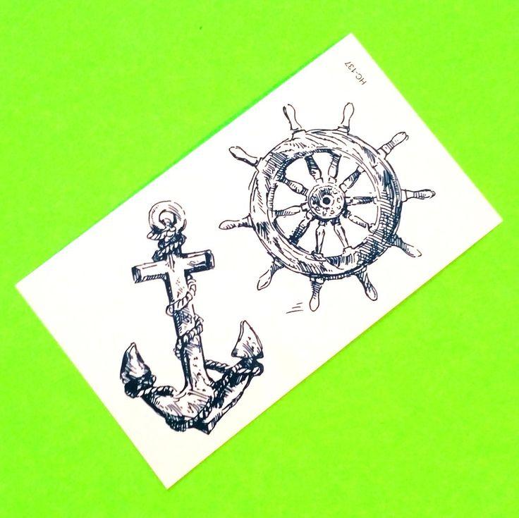 Anchor & Wheel Temporary Tattoo