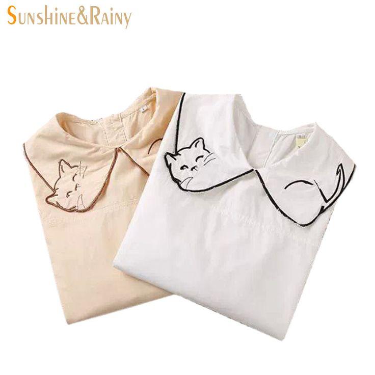 Купить Весна лето вышивка воротник большой лиса белая рубашка женщины милый…