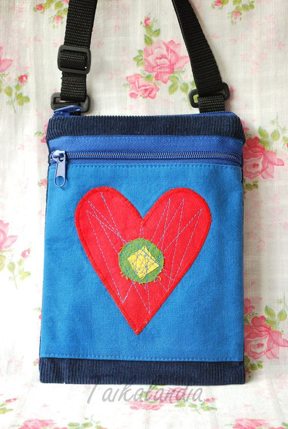 Blue Hand dyed Corduroy Heart Messenger Bag  Blue by TaikaLand