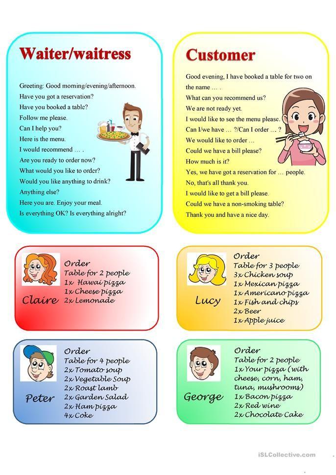 Restaurant Role Play Speaking Activities Esl Receptive Language Activities Speaking Activities